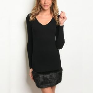 Dresses & Skirts - Longsleeve Faux Fur Trim Holiday Dress COMING SOON
